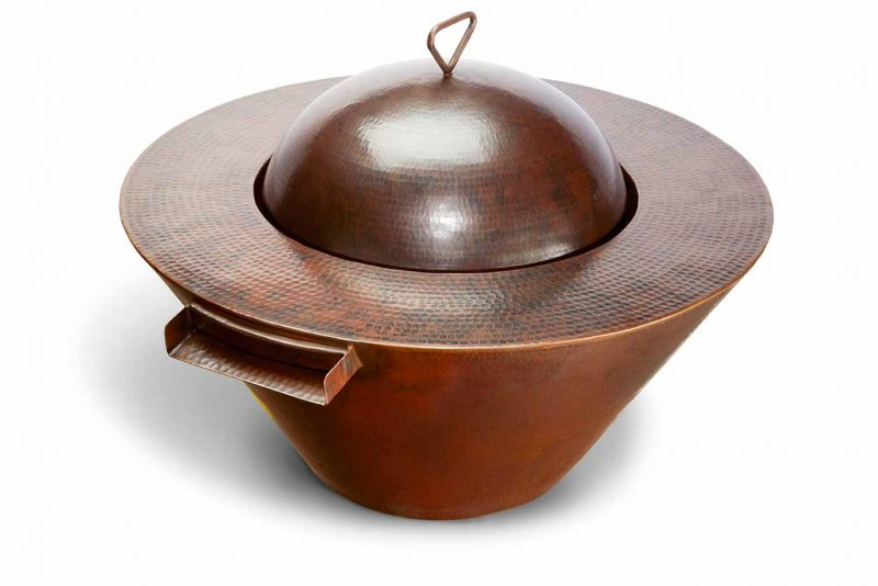 Mesa copper fire bowl with lid
